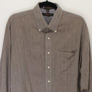 Tommy Hilfiger Brown Cotton Button-Down Shirt, EUC